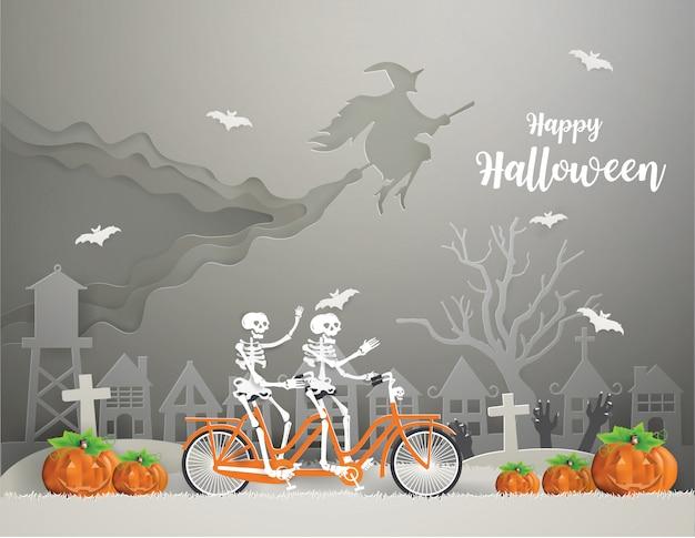 Feliz dia das bruxas com uma bruxa montando uma vassoura no céu e esqueletos andando de bicicleta na grama cinza ir para a festa Vetor Premium