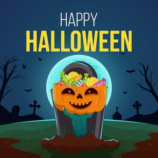Feliz dia das bruxas com uma mão de zumbi segurando uma abóbora cheia de doces Vetor Premium