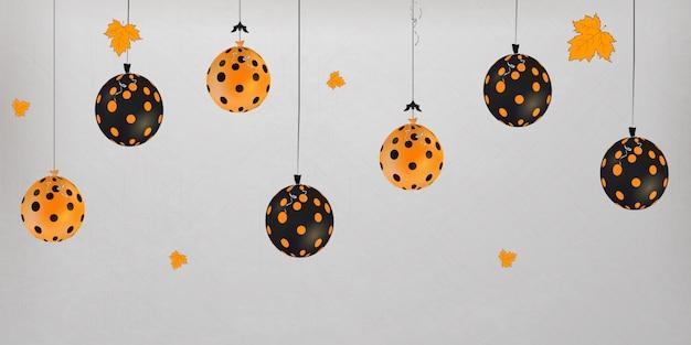 Feliz dia das bruxas. conceito de férias com balões de halloween com folhas de outono para banner, site, cartaz, cartão de felicitações, convite para festa. Vetor Premium