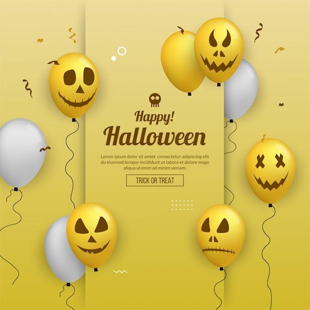 Feliz dia das bruxas convite cartão com balões para festa Vetor Premium