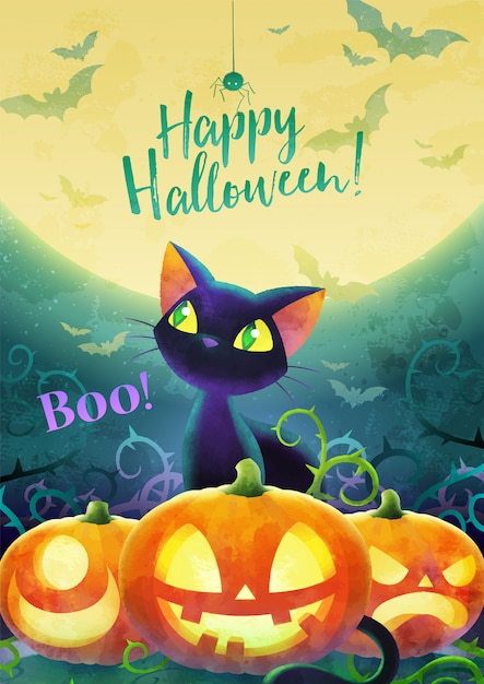 Feliz dia das bruxas convite conceito. desenhos animados gato preto enfrentam morcego e aranha em uma lua e fundo verde. cartão postal banner e cartaz. projeto aquarela. ilustração. tamanho a4. Vetor Premium