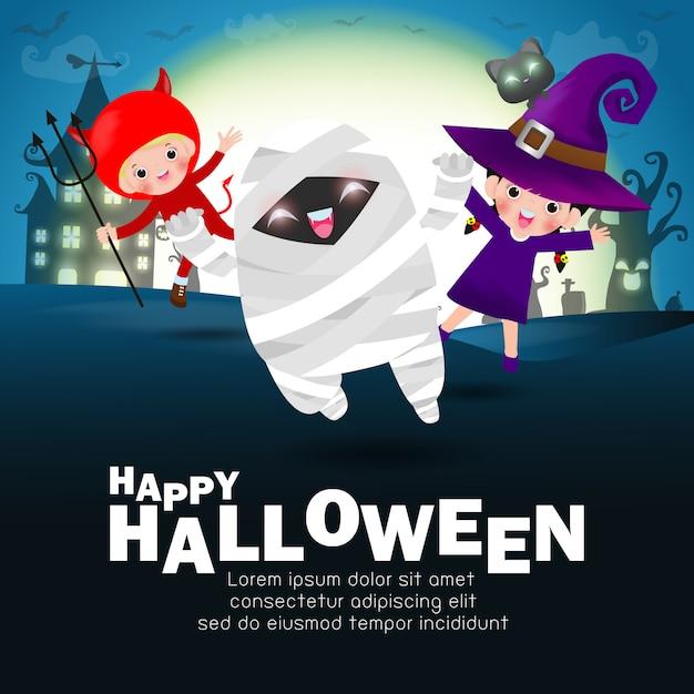 Feliz dia das bruxas crianças traje festa. grupo de crianças no dia das bruxas cosplay. Vetor Premium