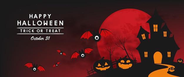 Feliz dia das bruxas dia banner Vetor Premium