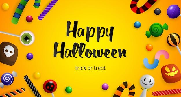 Feliz dia das bruxas, doces ou travessuras, letras e confeitaria Vetor grátis