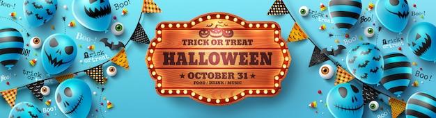 Feliz dia das bruxas doces ou travessuras poster com balões de fantasma de halloween Vetor Premium