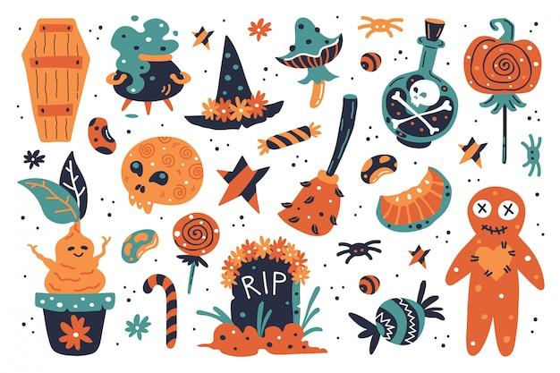 Feliz dia das bruxas elementos de design. clipart de halloween com chapéu de bruxa, abóbora, cogumelo, vassoura, lápide, doces, caldeirão de bruxas, lua, veneno, doces, túmulo, caldeirão, mandrágora, feijão, estrelas. Vetor Premium