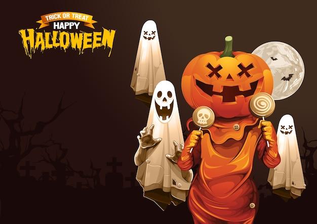 Feliz dia das bruxas, fantasma, guloseima ou truque. Vetor Premium