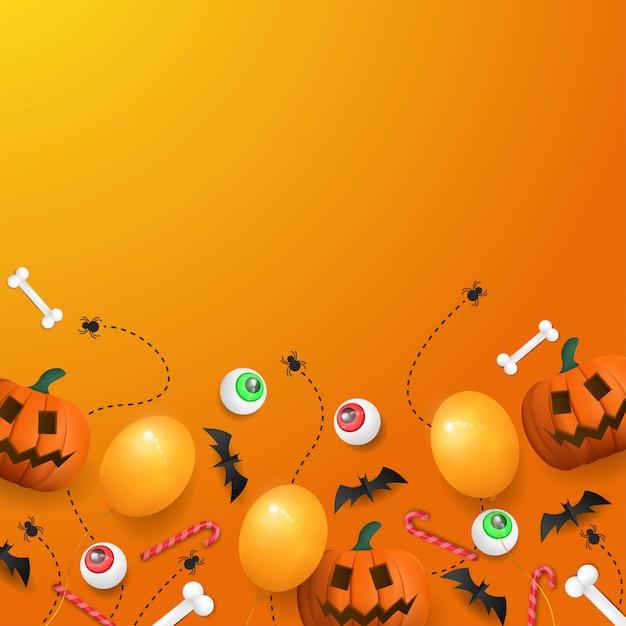 Feliz dia das bruxas fundo com abóbora, olho e balão Vetor Premium