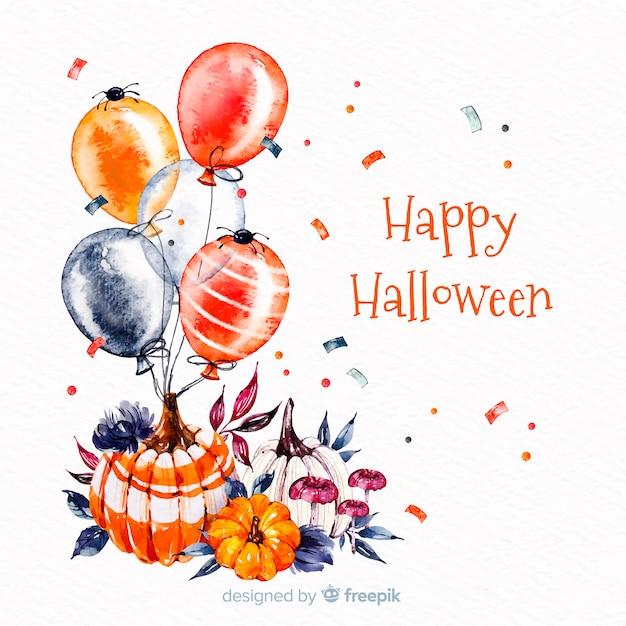 Feliz dia das bruxas fundo com balões Vetor grátis