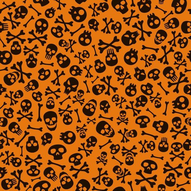 Feliz dia das bruxas fundo com caveira e ossos. padrão de halloween sem emenda. Vetor Premium