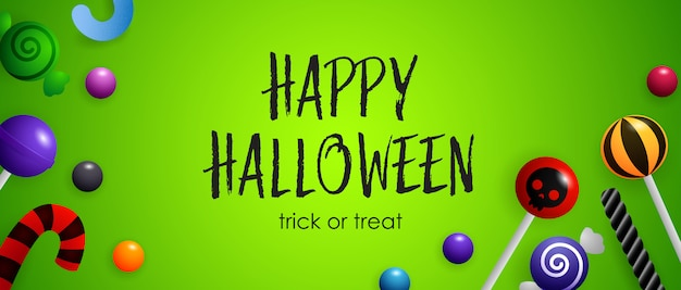 Feliz dia das bruxas, gostosuras ou travessuras letras com doces fofos Vetor grátis