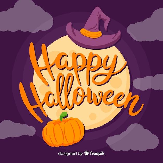Feliz dia das bruxas letras com lua cheia Vetor grátis
