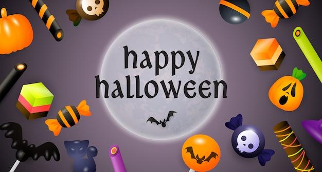Feliz dia das bruxas letras, lua, doces e balas Vetor grátis