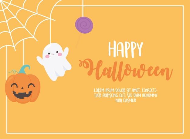 Feliz dia das bruxas pendurando doces fantasma de abóbora na ilustração do cartão da web Vetor Premium