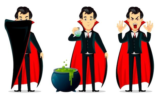 Feliz dia das bruxas. personagem de desenho animado de vampiro Vetor Premium