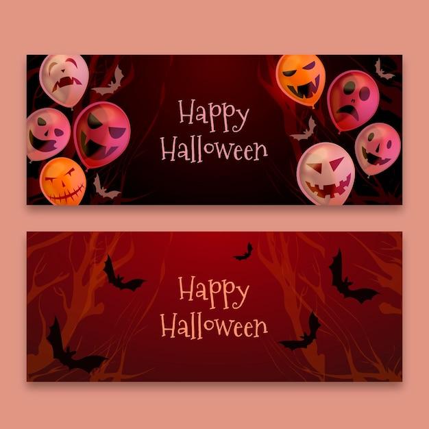 Feliz dia das bruxas realista com balões e bandeira de morcegos Vetor Premium