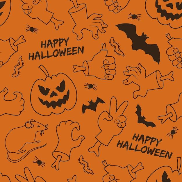 Feliz dia das bruxas sem costura padrão com lanterna de mãos de macaco e animais de gestos em fundo laranja Vetor grátis