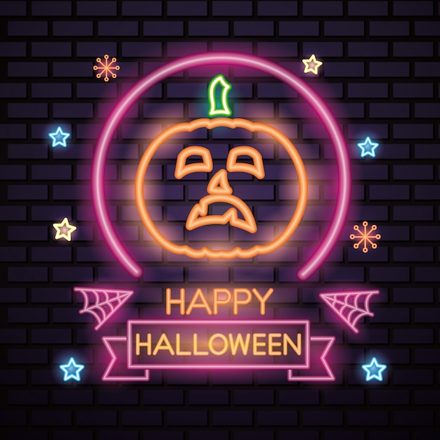 Feliz dia das bruxas sinal de néon Vetor grátis