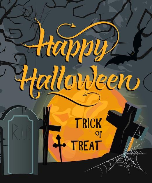Feliz dia das bruxas, truque ou deleite letras com lua e cemitério Vetor grátis