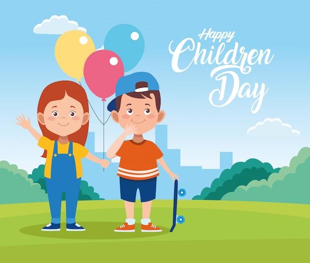Feliz dia das crianças cartão com crianças e balões de hélio no campo Vetor Premium