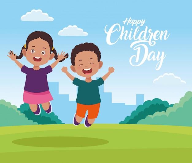 Feliz dia das crianças cartão com crianças no campo Vetor Premium