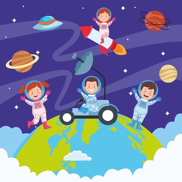 Feliz dia das crianças cartão com crianças no espaço Vetor grátis