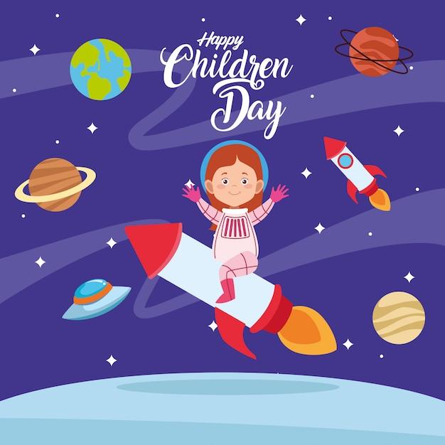 Feliz dia das crianças cartão com garota no espaço Vetor Premium