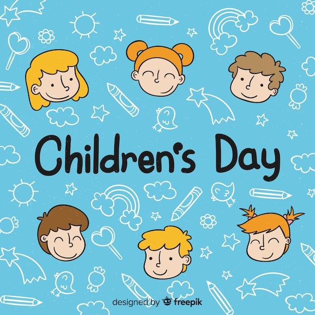 Feliz dia das crianças de fundo na mão desenhada estilo Vetor grátis