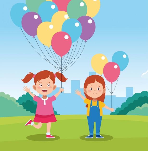 Feliz dia das crianças design com crianças felizes dos desenhos animados e balões coloridos Vetor Premium