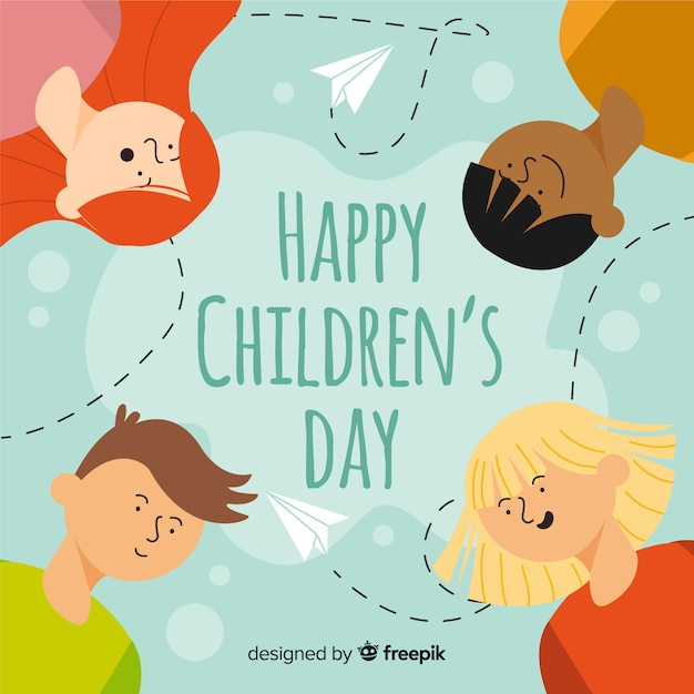 Feliz dia das crianças em design plano Vetor grátis