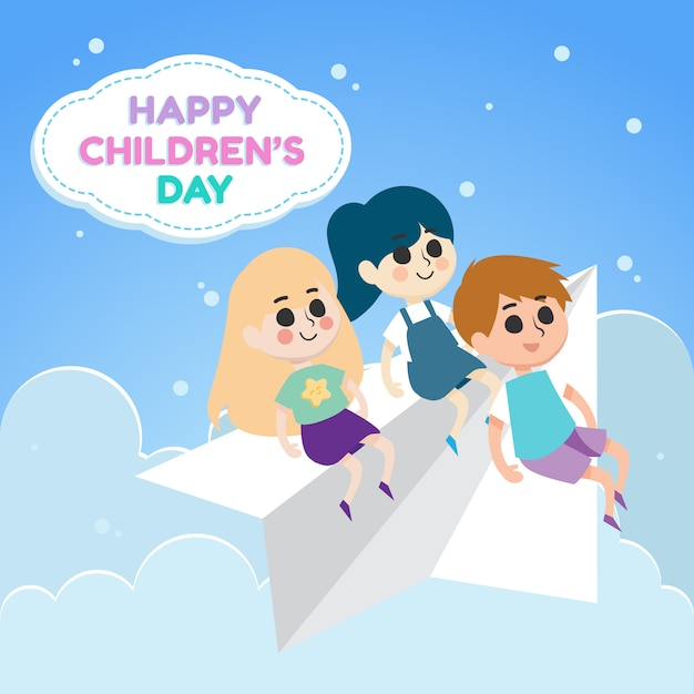 Feliz dia das crianças ilustração com crianças andando de avião de papel Vetor Premium