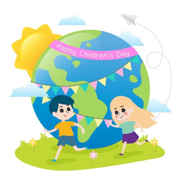 Feliz dia das crianças ilustração com crianças correndo Vetor Premium