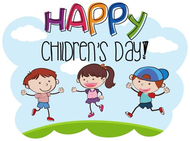 Feliz dia das crianças kid cena Vetor Premium