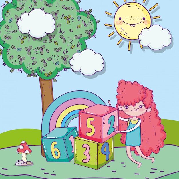 Feliz dia das crianças, linda garota com parque de blocos de números Vetor Premium