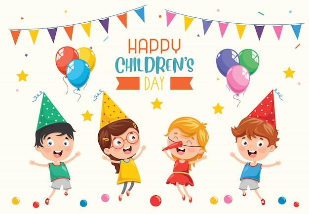 Feliz dia das crianças Vetor Premium