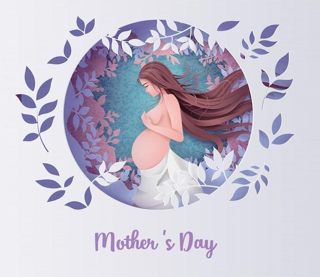Feliz dia das mães cartão de saudação. Vetor Premium