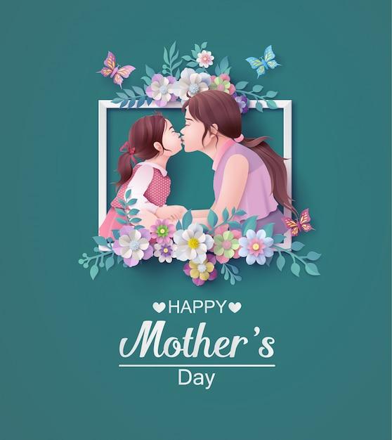 Feliz dia das mães cartão Vetor Premium