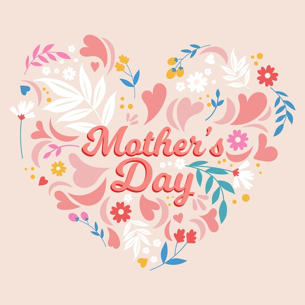 Feliz dia das mães com flores e corações Vetor grátis