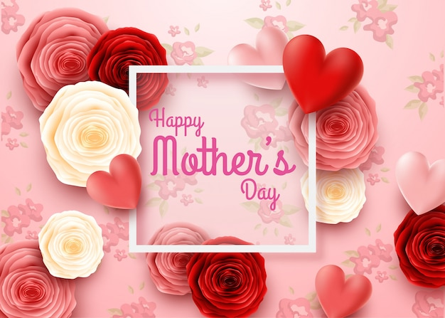 Feliz dia das mães com flores rosas e fundo de corações Vetor Premium
