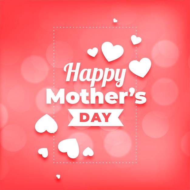 Feliz dia das mães corações e bokeh de fundo Vetor grátis