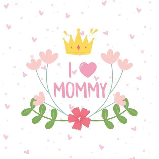 Feliz dia das mães, coroa flores ramos pontos decoração cartão ilustração Vetor Premium