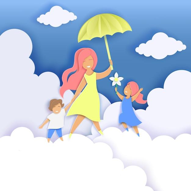 Feliz dia das mães corte de papel ilustração Vetor Premium