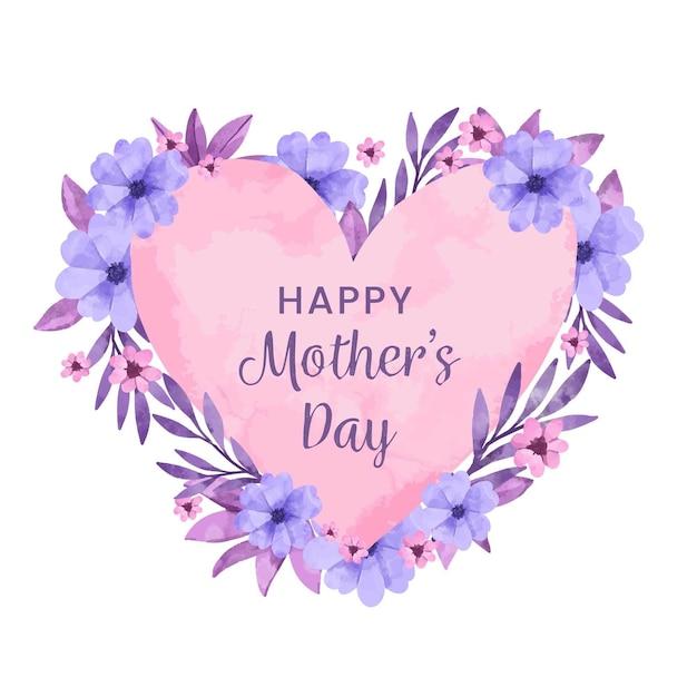 Feliz dia das mães design aquarela Vetor grátis