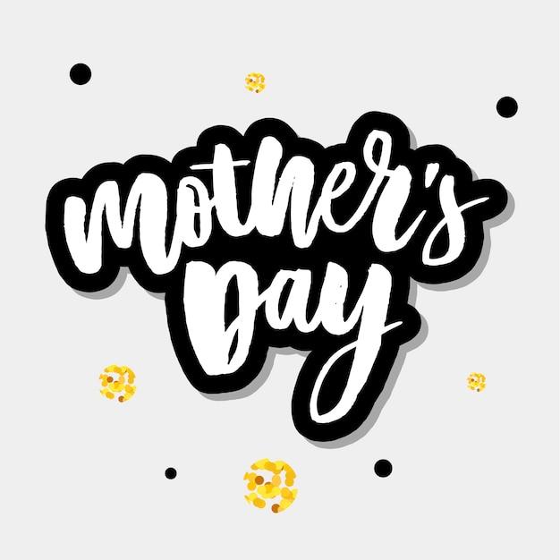 Feliz dia das mães elegante tipografia rosa banner Vetor Premium