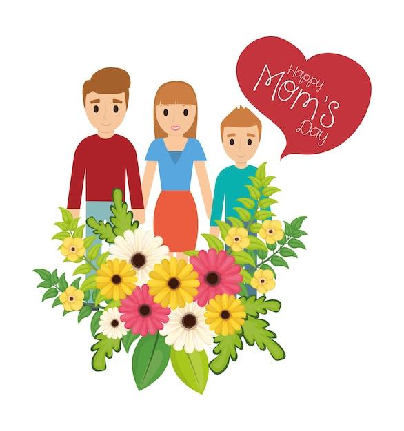 Feliz dia das mães família flores celebração Vetor Premium