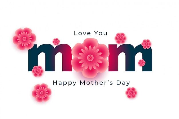 Feliz dia das mães feliz wises cartão com flores Vetor grátis