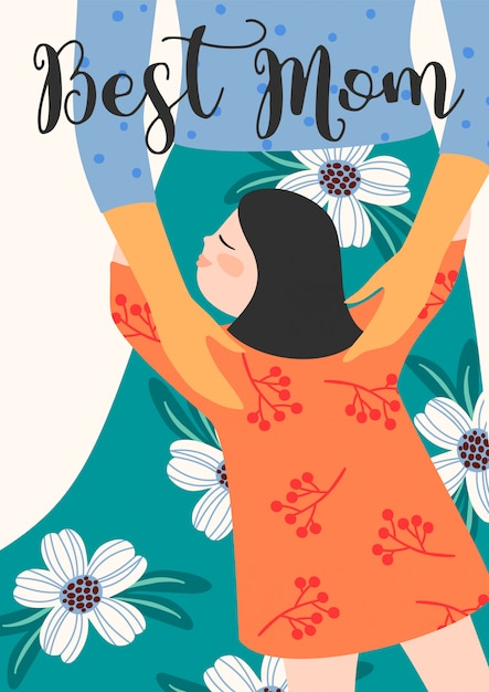 Feliz dia das mães ilustração com mulheres e crianças. Vetor Premium