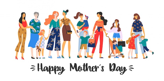 Feliz dia das mães. ilustração vetorial Vetor Premium