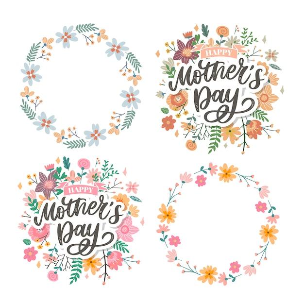 Feliz dia das mães letras. ilustração em vetor caligrafia artesanal. cartão de dia das mães com flores Vetor Premium