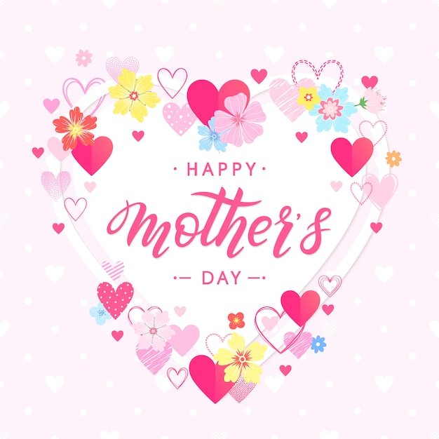 Feliz dia das mães - mão desenhada letras com elementos florais flores ahd corações. cartão de cumprimentos de épocas perfeito para impressões, banners, convites, oferta especial e muito mais Vetor Premium